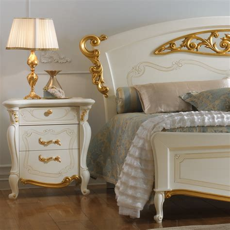 gold bed italian white and gold leaf elaborately carved bed
