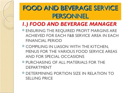 Kitchen Manager Education Requirements The Food And Beverage Service Department