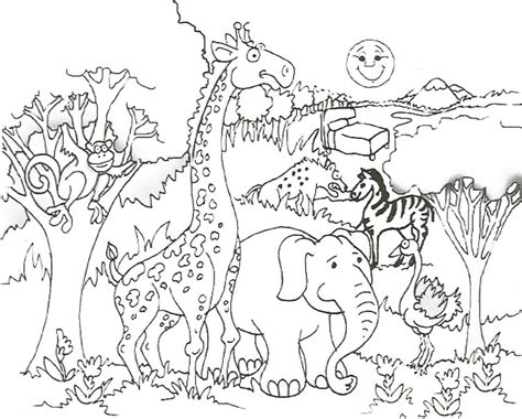 jungle themed coloring pages safari coloring pages see the wild animals closely