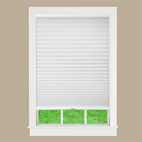 Pleated Shades For Windows Decor Lift Window Treatment White 1 In Light Filtering Cordless Pleated Shade 34 In W X 64