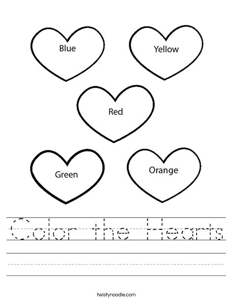 Color The Hearts Worksheet Twisty Noodle Coloring Worksheets For