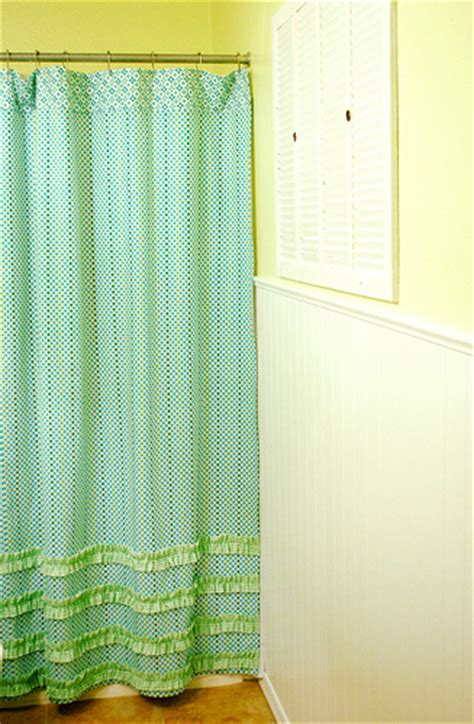 shower curtain tutorial a peek at my bath re do and a ruffled shower curtain
