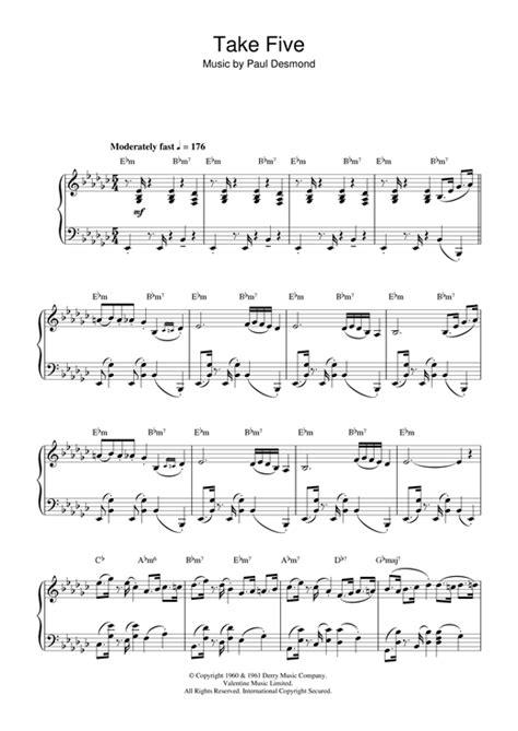 tutorial piano take five take five sheet music by dave brubeck piano 37844