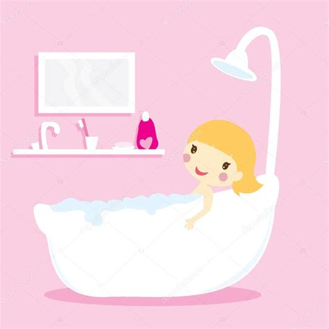 ragazze nella vasca ragazza nella vasca da bagno vettoriali stock