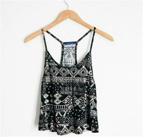 tribal pattern tank top blouse black and white loose blouse tribal pattern