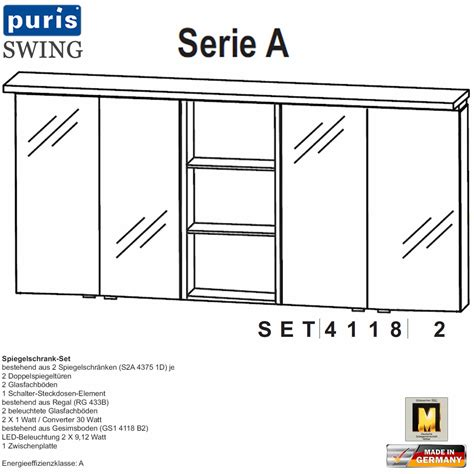 puris swing spiegelschrank set 180 cm set41182 impuls home