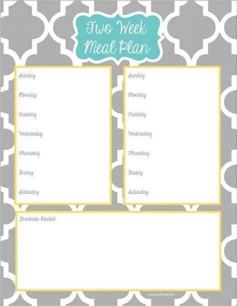two week meal plan template two week meal planner free printable free printables