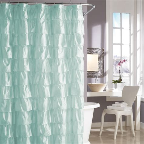 turquoise ruffle curtains pale aqua ruffle shower curtain apartment ideas