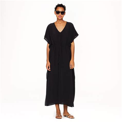j crew silk maxi tunic in black lyst