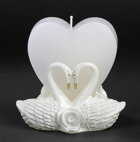 heart with a pair of swans candle bridal shower favors