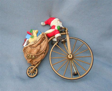 1982 cycling santa vintage hallmark christmas ornament