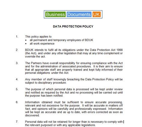 data protection policy template ensure dpa compliance