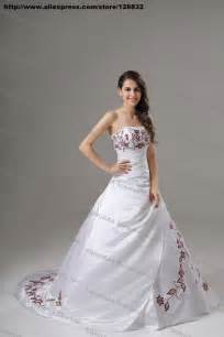 Burgundy embroidery white stain a line wedding dress bridal gown