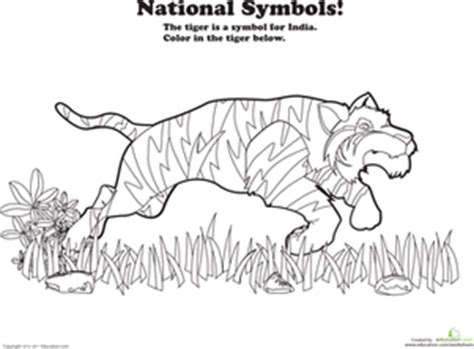 india animals coloring pages india national animal worksheet education