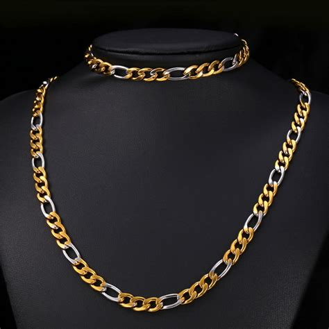 Set Twotone gold chain set two tone gold bracelet s jewelry necklace stainless steel 18k gold plated 8mm