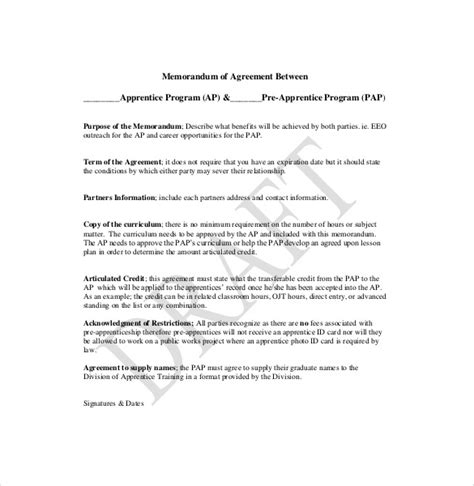 template memorandum of agreement 12 memorandum of agreement templates free sle