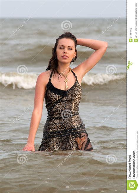 woman   wet dress stock  image