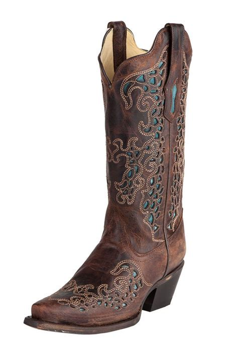 Corral Women's Brown with Turquoise Cowgirl Boots   Colors