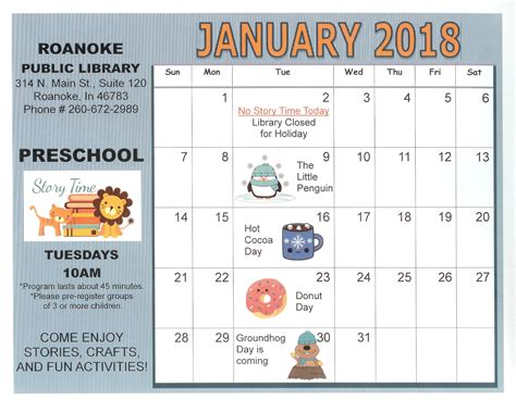 the library of virginia calendar of events january 2016 roanoke public library your small town library doing big