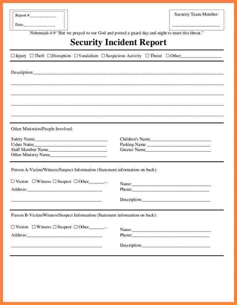 security incident report form template progress report