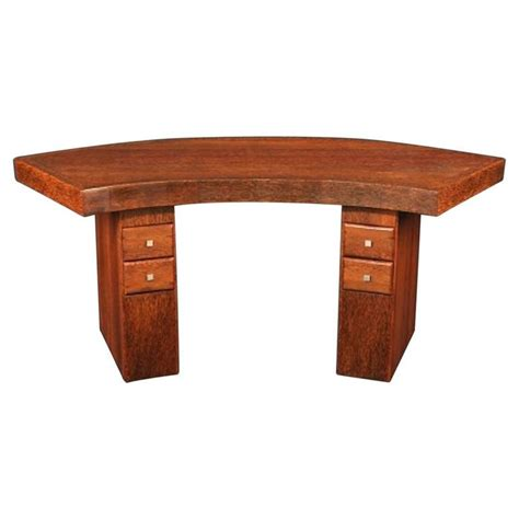 deco desk l curved deco desk made of palmwood for sale at 1stdibs