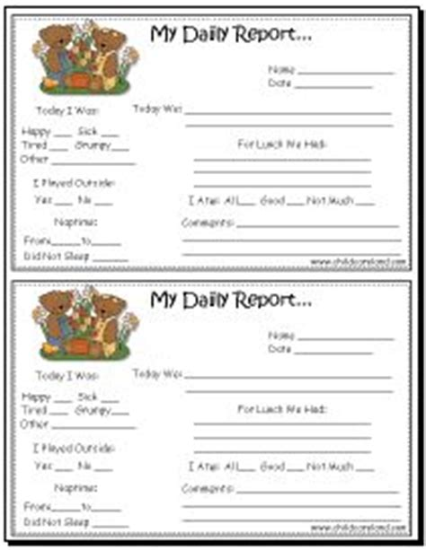 child care report card template best 25 preschool daily report ideas on
