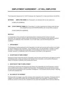 at will contract template employment agreement at will employee template sle