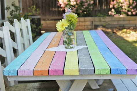 cool painted picnic tables colorful picnic table makeover craft miss momma
