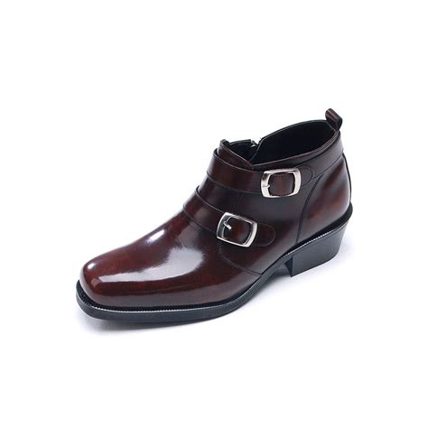 mens boots high mens buckle brown leather boots