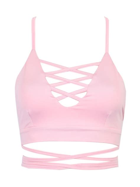 top 7 amazing pink and pink lattice strappy back cross crop top choies