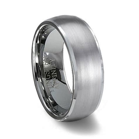 Wedding Bands Tungsten by Brushed Finish Domed Tungsten Wedding Band Polished Edge