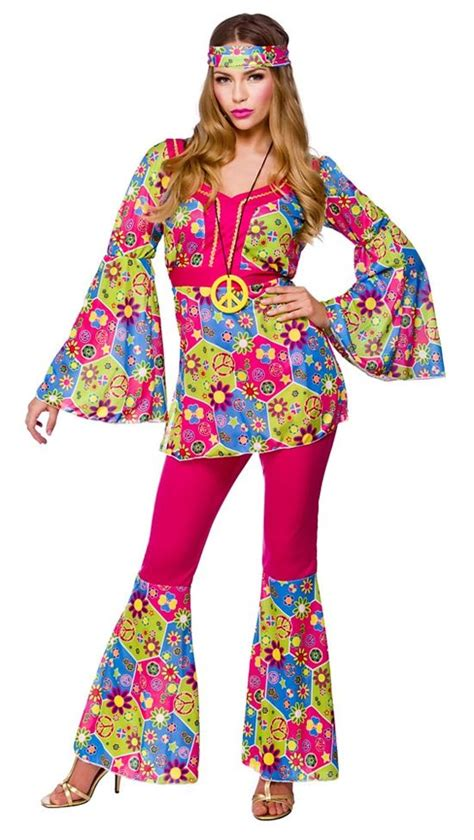 clothes for women in their 60s ladies hippie 60s 70s hippy flower fancy dress costumes