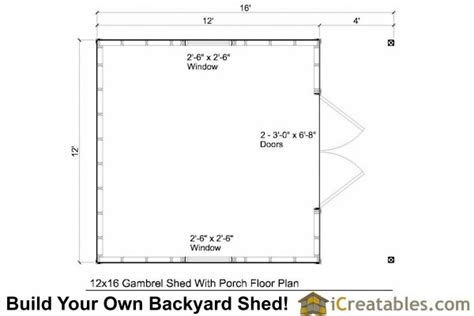 gambrel shed plans   porch