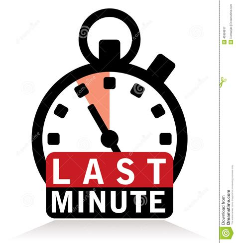 last minute sign with stopwatch stock illustration