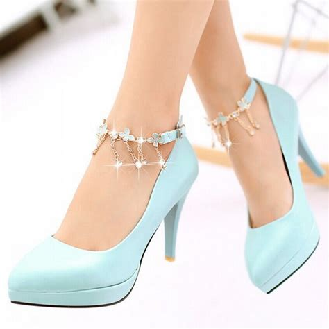 high heels with blue and white high heels boot hto