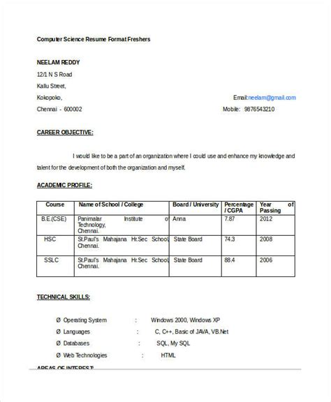 Sle Resume For Freshers Engineers Computer Science by 11526 Resume For Freshers Computer Science Engineers