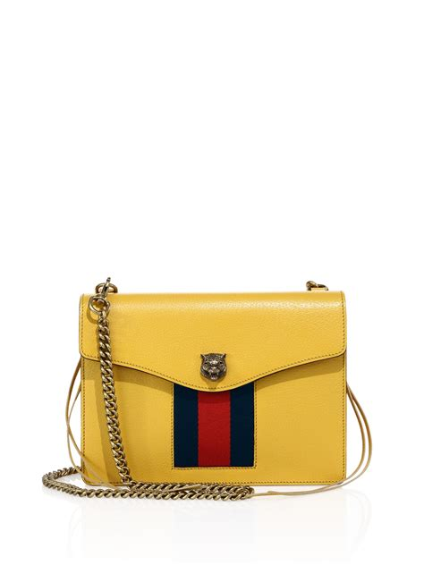 Guccis Necklace For Fans Of Flipper by Gucci Animalier Leather Chain Shoulder Bag In Yellow Lyst