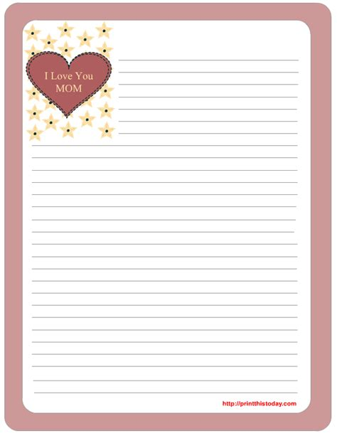 printable lined paper for mother s day free mother s day stationery printables
