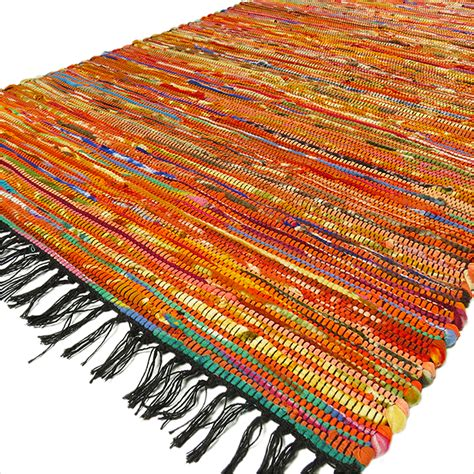 Indian Rag Rug by 5 X 3 Ft Orange Rag Rug Chindi Floor Mat Carpet Tapestry