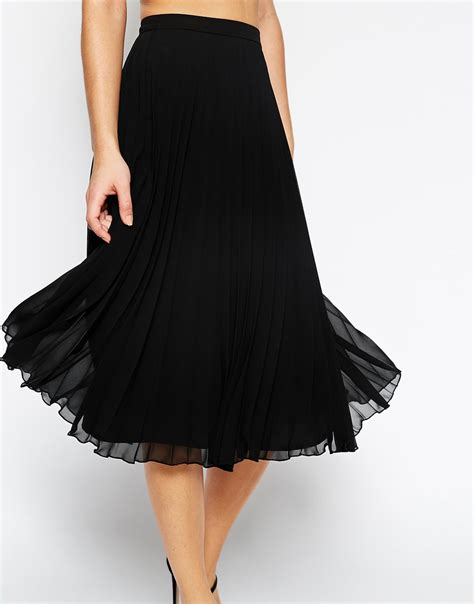 asos pleated midi skirt in black lyst