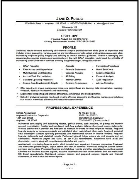 federal financial analyst resume sle the resume clinic