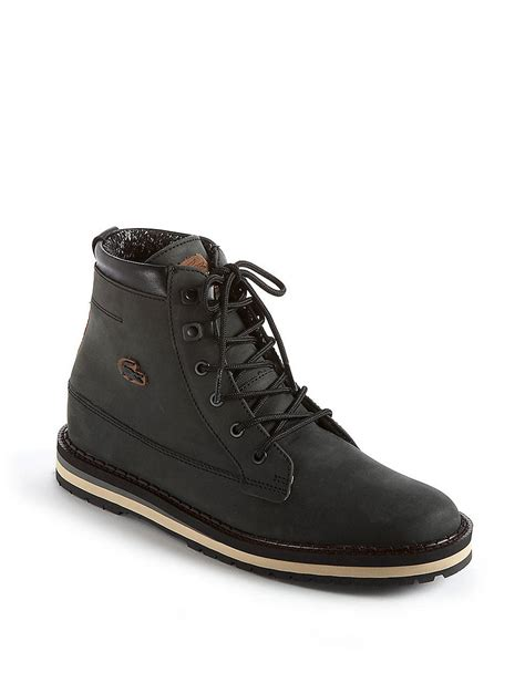 lacoste freman leather boots in black for lyst