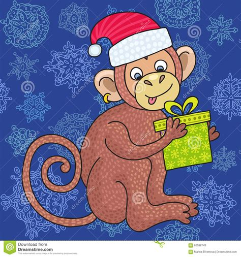 Happy Monkey Blue vector monkey on the blue background of snowflakes