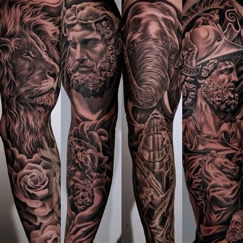 greek mythology sleeve tattoo designs amazing details jun cha tattoos