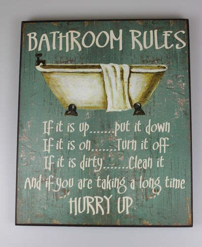 bathroom rules plaque large shabby wooden chic sign bathroom rules vintage