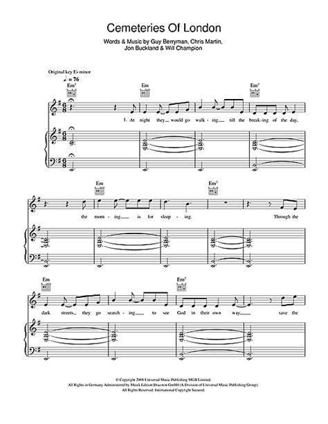 download mp3 coldplay cemeteries of london cemeteries of london sheet music by coldplay piano vocal