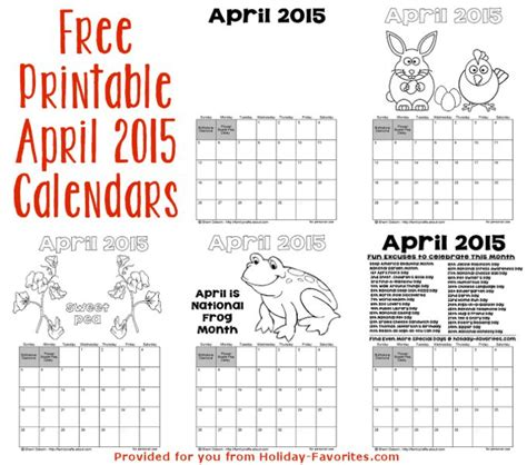 Calendar 2015 Printable April Printable April 2015 Calendars Favorites