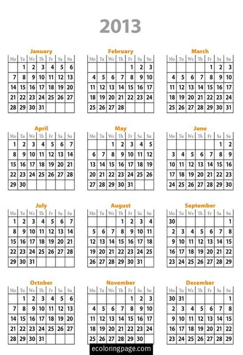 2013 printable calendar year view 5 best images of free printable 2013 calendar year full