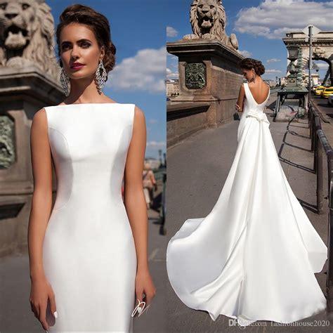 pattern white wedding dress wow simple satin mermaid wedding dresses 2017 new boat neck