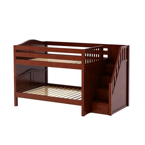 platform bed in chestnut with curved bed ends by maxtrix 200 maxtrixkids dapper cc low bunk w staircase on end